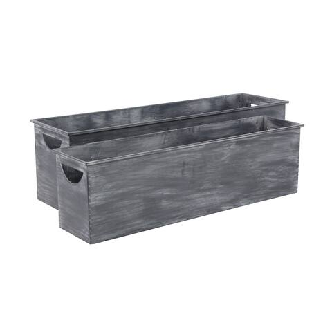 Set of 2 Farmhouse Rectangular Dark Gray Metal Planters by Studio 350