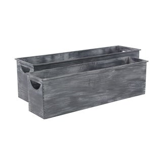 Link to Set of 2 Farmhouse Rectangular Dark Gray Metal Planters by Studio 350 Similar Items in Yard Care