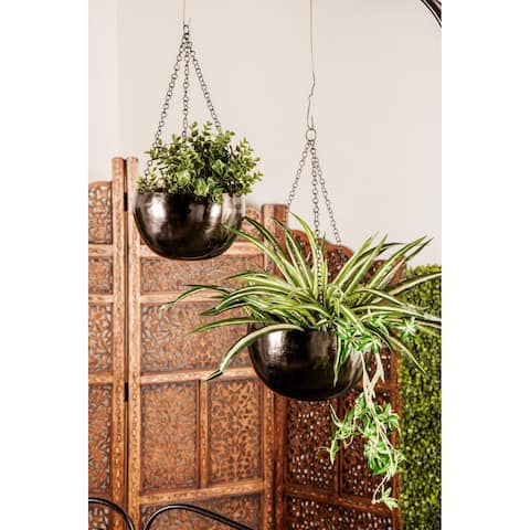 Set of 2 Glam 5 and 6 Inch Round Black Hanging Planters by Studio 350