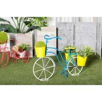 Eclectic 22 x 32 Inch Blue and Yellow Tin Bicycle Plant Stand