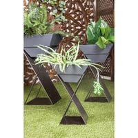 Set of 3 Modern Trapezoidal Gray and White Plant Stands by Studio 350