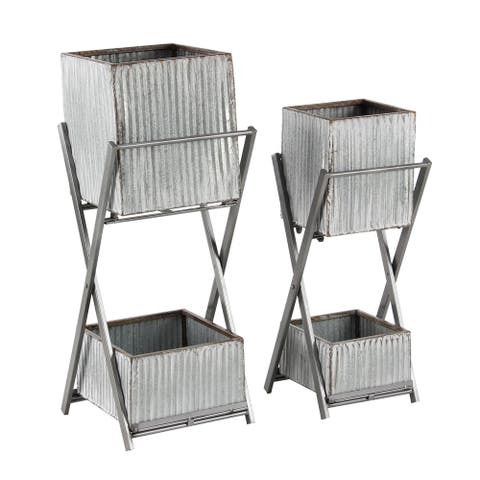 Set of 2 Modern 24 and 28 Inch Silver Square Double-Deck Plant Stands