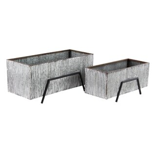 Set of 2 Industrial 9 and 11 Inch Silver Rectangular Plant Stands