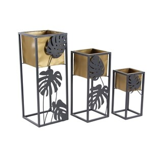 Set of 3 Modern 14, 20 and 26 Inch Yellow and Gray Square Plant Stands