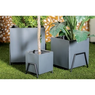 Set of 4 Modern Square Black Metal Plant Stands by Studio 350