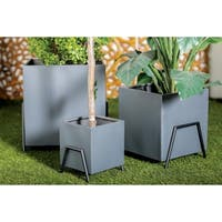 Set of 4 Modern 9, 13, 17 and 21 Inch Square Black Tin Plant Stands