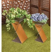 Set of 3 Modern 20, 25 and 29 Inch Inverted Trapezoid Metal Planters