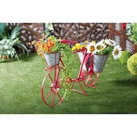 Eclectic 27 x 46 Inch Dark Red Metal Bicycle Plant Stand by Studio 350