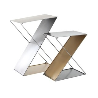 Set of 2 Modern 20 and 26 Inch Z-Shaped Gold and Gray Tin Plant Stands