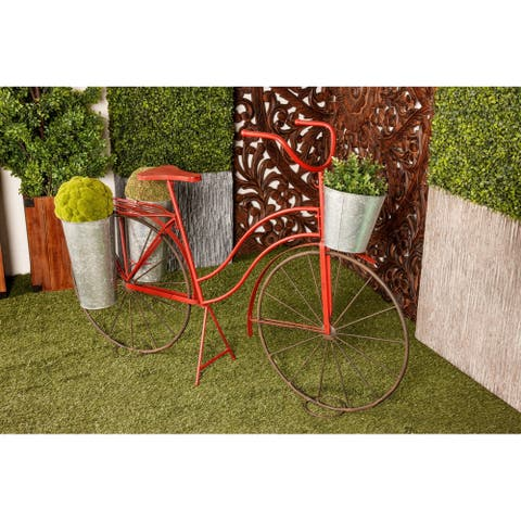 Eclectic 38 x 56 Inch Red Metal Bicycle Plant Stand by Studio 350