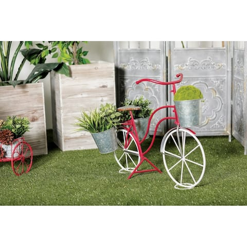 """Eclectic 22 Inch Red and White Bicycle Plant Stand by Studio 350 - 15""""Wx31""""Lx23""""H"""