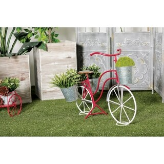 Eclectic 22 Inch Red and White Bicycle Plant Stand by Studio 350
