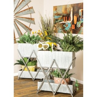 Set of 2 Modern 29 and 31 Inch Silver Double-Deck Plant Stands