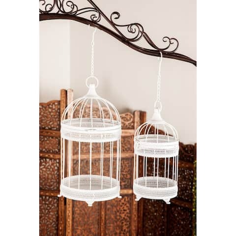Set of 2 Farmhouse 14 and 18 Inch Bird Cage Planters by Studio 350