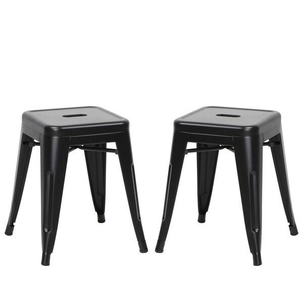 VIVA HOME Stackable Indoor and Outdoor Metal Barstool, 18 Inch, Set of 2, Black