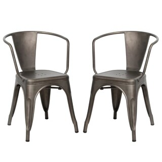 VIVA HOME Metal Dining Bistro Cafe Side Chairs,Indoor/Outdoor Chair, Set of 2, Gun Metal Grey