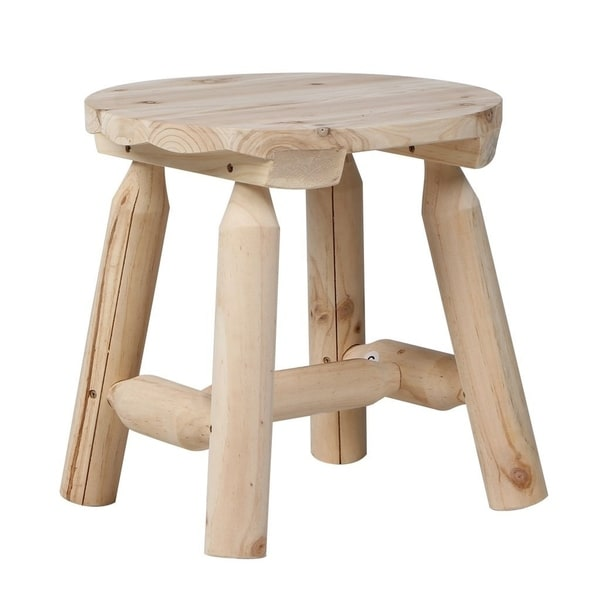 Oakland Living Indoor Black And White Ladder Back 5 Piece: Shop Wooden Stool Round Shape Natural Sturdy 4 Foot Chairs