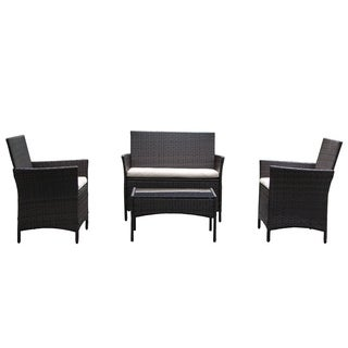 On Patio Furniture Ratten Dining Sets 4PCS With Beige Cushion, Outdoor Wicker Sofa