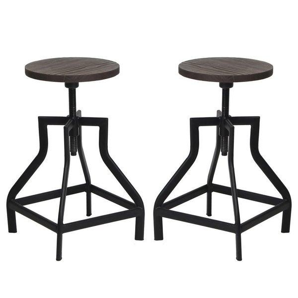 Viva Home Swivel Metal Frame Barstool With Adjule Wood Seat Set Of 2