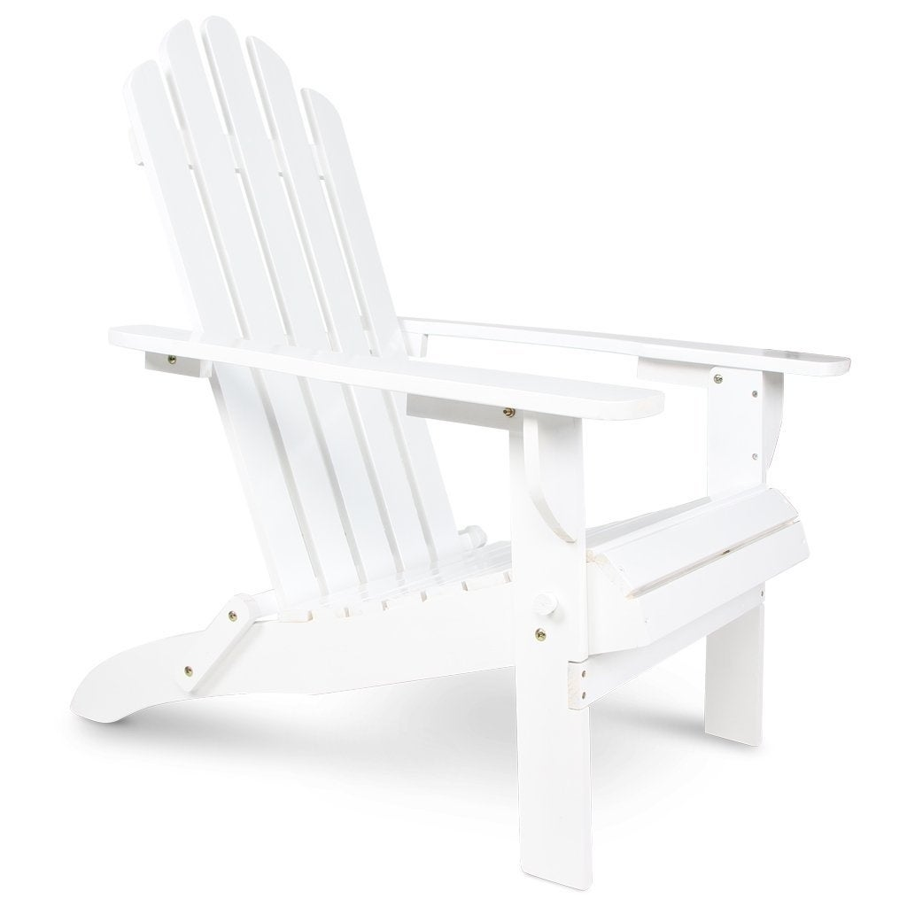 Wooden Patio Adirondack Chair Fan Back Design With White Painting For Outdoor Overstock 20445448
