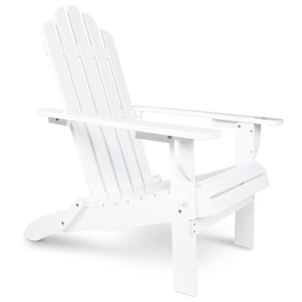 Wooden Patio Adirondack Chair Fan Back Design With White Painting For  Outdoor