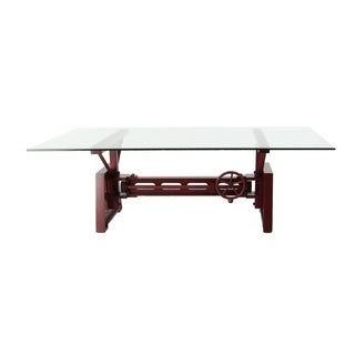 Industrial 20 x 47 Inch Red Mechanical Coffee Table