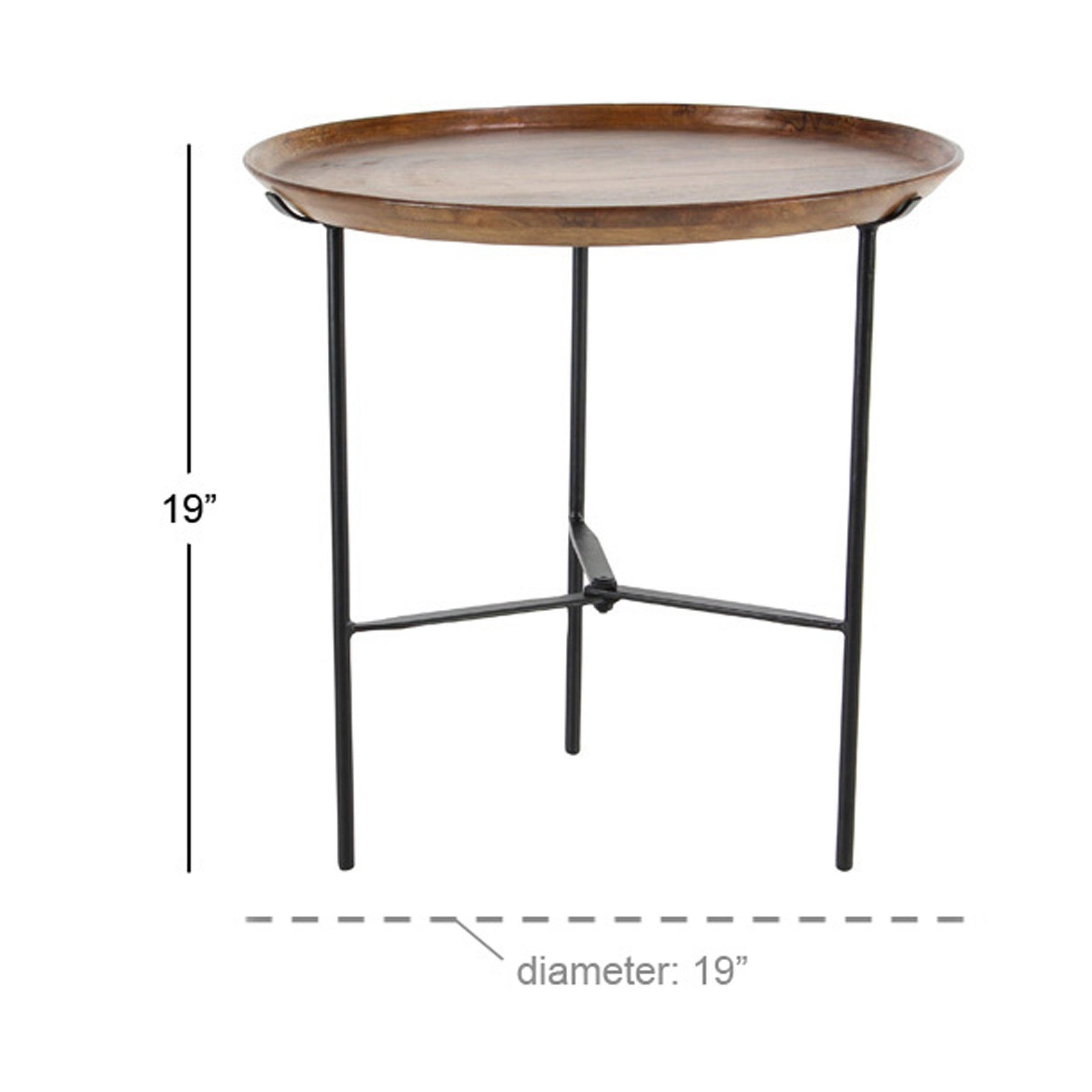 - Shop Rustic 19 X 19 Inch Round Wood And Iron Accent Table