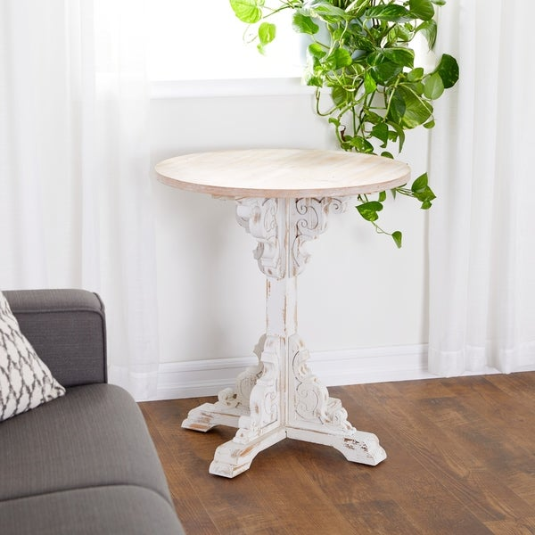 Traditional 30 x 26 Inch Round Wood Accent Table