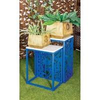 Set of 2 Modern Rectangular Blue Pierced End Tables by Studio 350