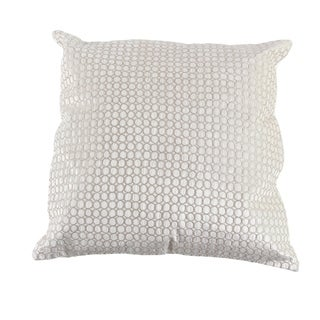 Modern 20 x 20 Inch Square White Pillow with Silver Velvet Embroidery