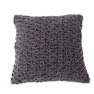 Modern 17 x 17 Inch Square Gray Smocking Work Pillow