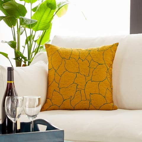 Modern 17 x 17 Inch Mustard Yellow Pillowcase with Leaf Patterns