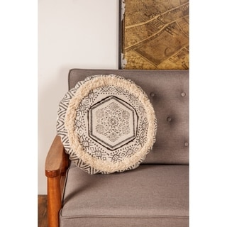 """Throw Pillow with Fringe & Boho Designs 18"""""""