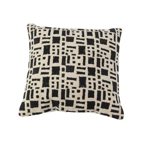 Traditional 17 x 17 Inch Square Black and White Kilim Cushion Cover