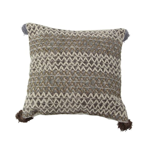 Rustic 19 x 19 Inch Square Brown Cushion Cover with Compressed Filler