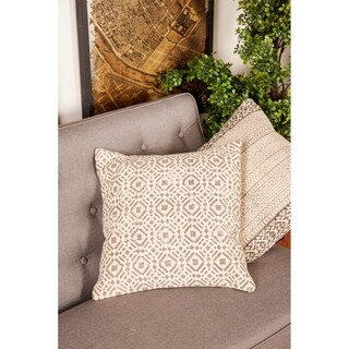 Traditional 17 x 17 Inch Gray Pillow with Diamond and Square Patterns