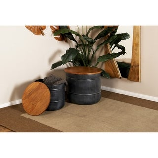 Set of 2 Traditional 12 and 16 Inch Wood and Iron Drum Stool