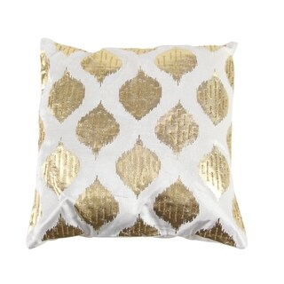 Modern 20 x 20 Inch Square White Pillow with Gold Spade-Shaped Designs
