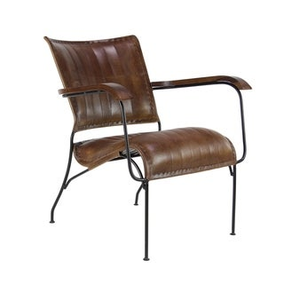 Studio 350 Rustic 29-inch x 26-inch Black/Brown Leather/Iron Chair with Arms