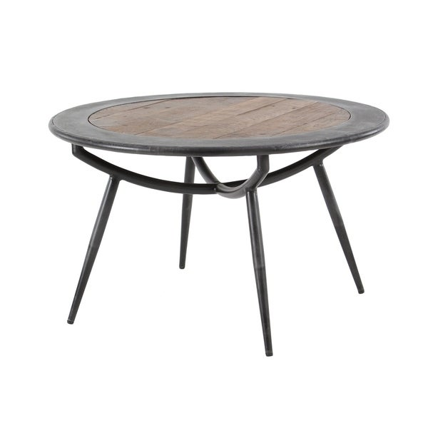 Rustic Round Wooden Coffee Table: Shop Rustic 17 X 30 Inch Wood And Iron Round Coffee Table
