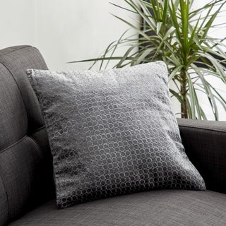 Modern 17 x 17 Inch Square Gray Pillow with Silver Velvet Embroidery