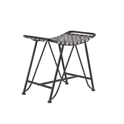 Industrial 21 x 24 Inch Gray Iron Woven Stool