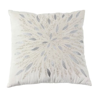 Modern 17 x 17 Inch Square White Pillow with Metallic Embroidery