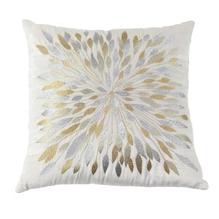 Modern 17 x 17 Inch Square White Pillow with Metallic Embroidery Motif