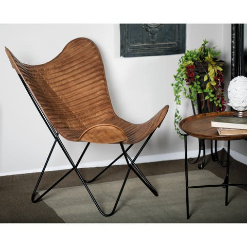 Studio 350 Modern Leather and Iron 35-inch x 29-inch Butterfly Chair