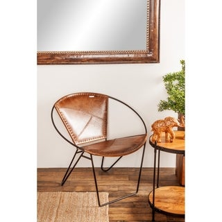 Studio 350 Modern Brown Leather and Iron Chair