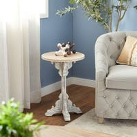 Traditional 23 x 15 Inch Round Wood Accent Table