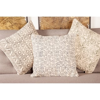 Natural 18 x 18 Cotton and Fabric Accent Pillow