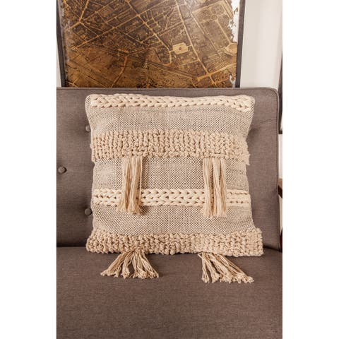 Rustic 19 x 19 Inch Square Beige Knitted Pillow with Compressed Filler