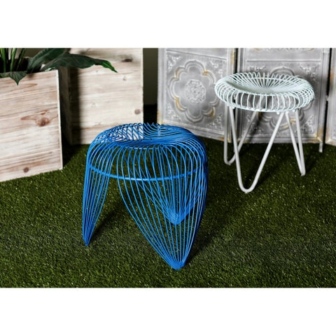 Contemporary 19 x 19 Inch Blue Iron Basket-Inspired Stool